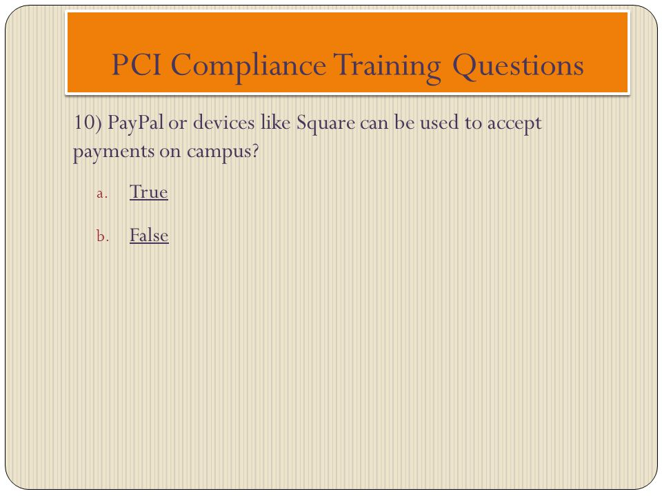 PCI Compliance Training Questions