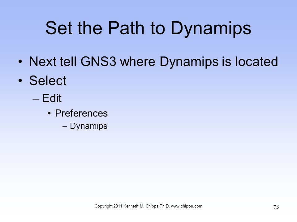 Set the Path to Dynamips