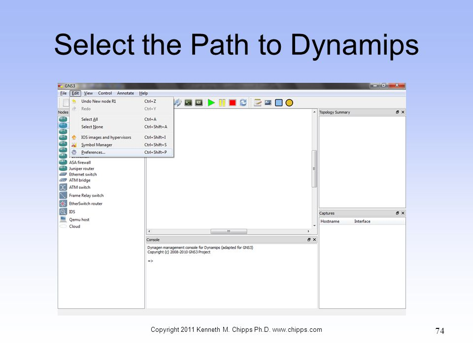 Select the Path to Dynamips