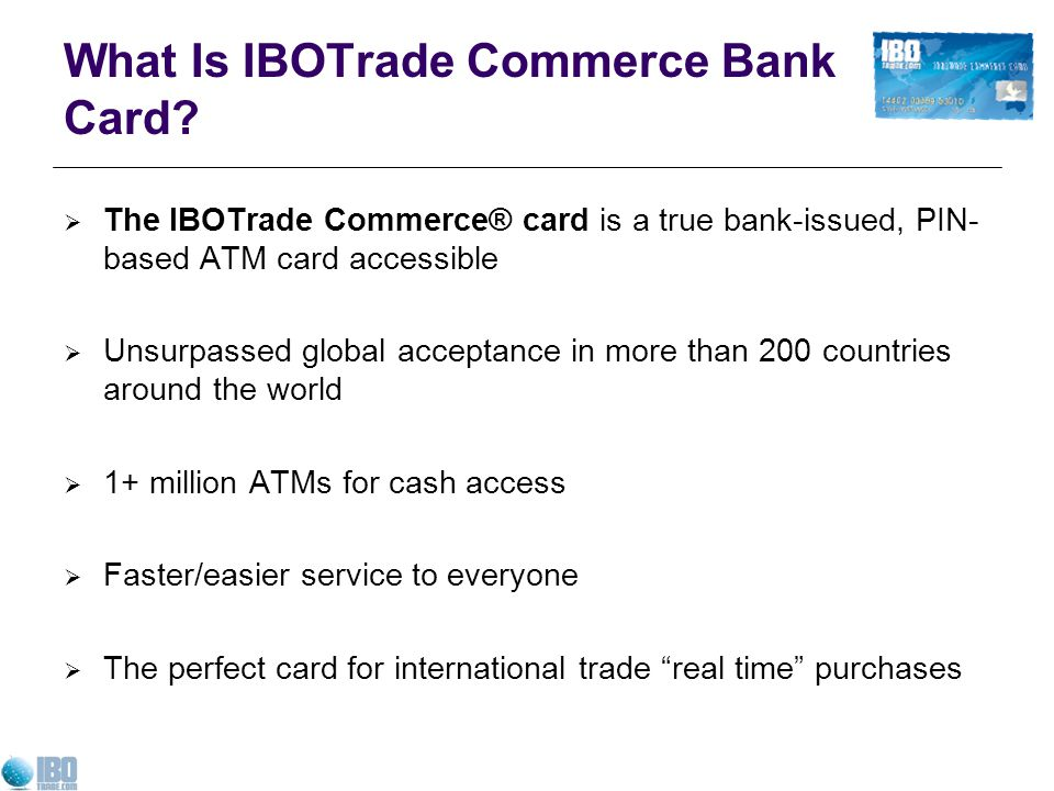 What Is IBOTrade Commerce Bank Card