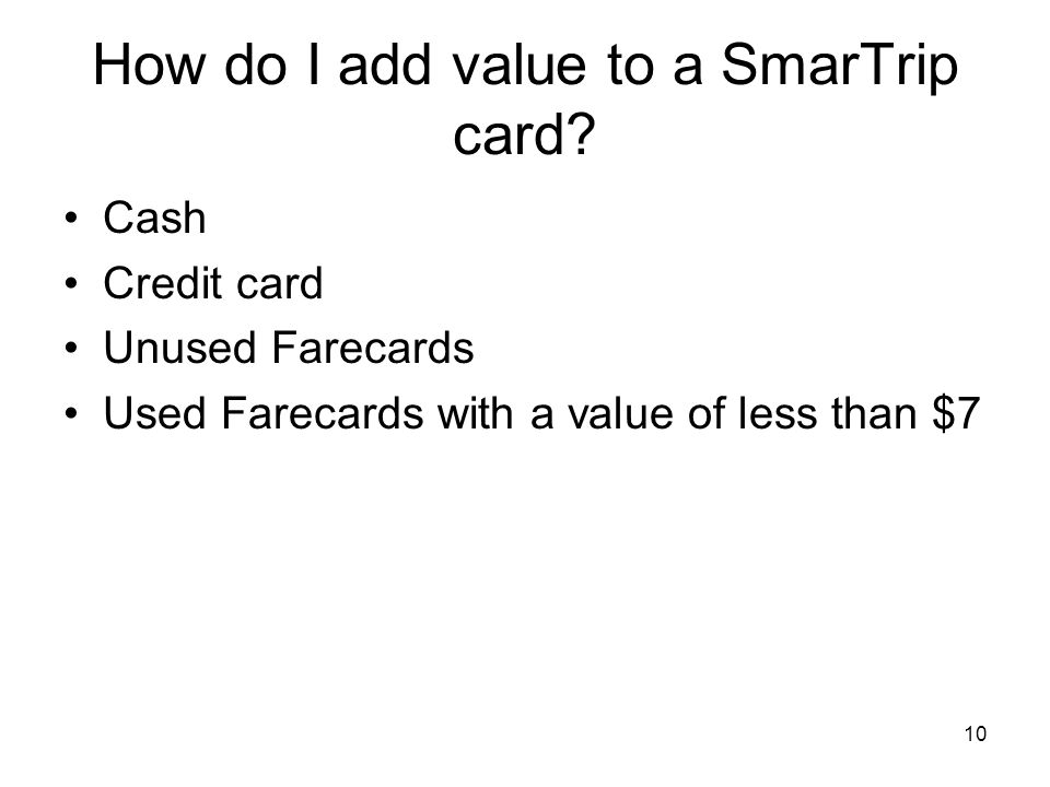 How do I add value to a SmarTrip card