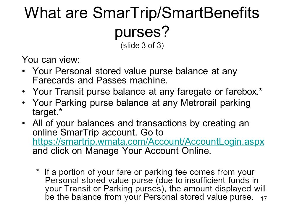 What are SmarTrip/SmartBenefits purses (slide 3 of 3)