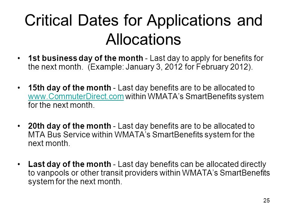 Critical Dates for Applications and Allocations