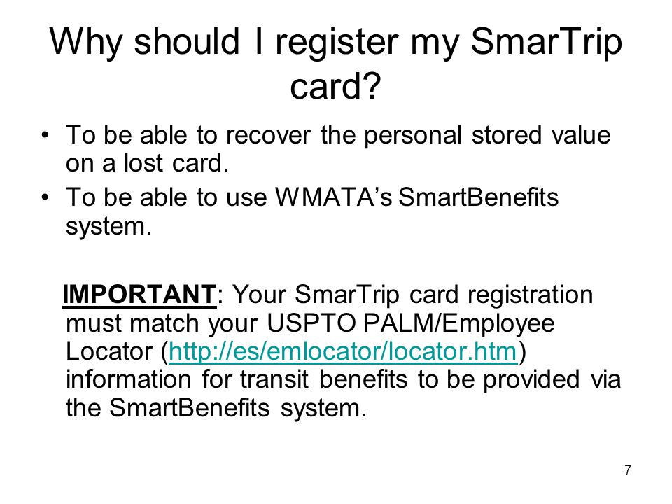 Why should I register my SmarTrip card