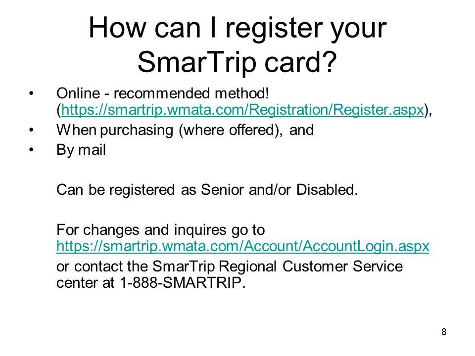 How can I register your SmarTrip card