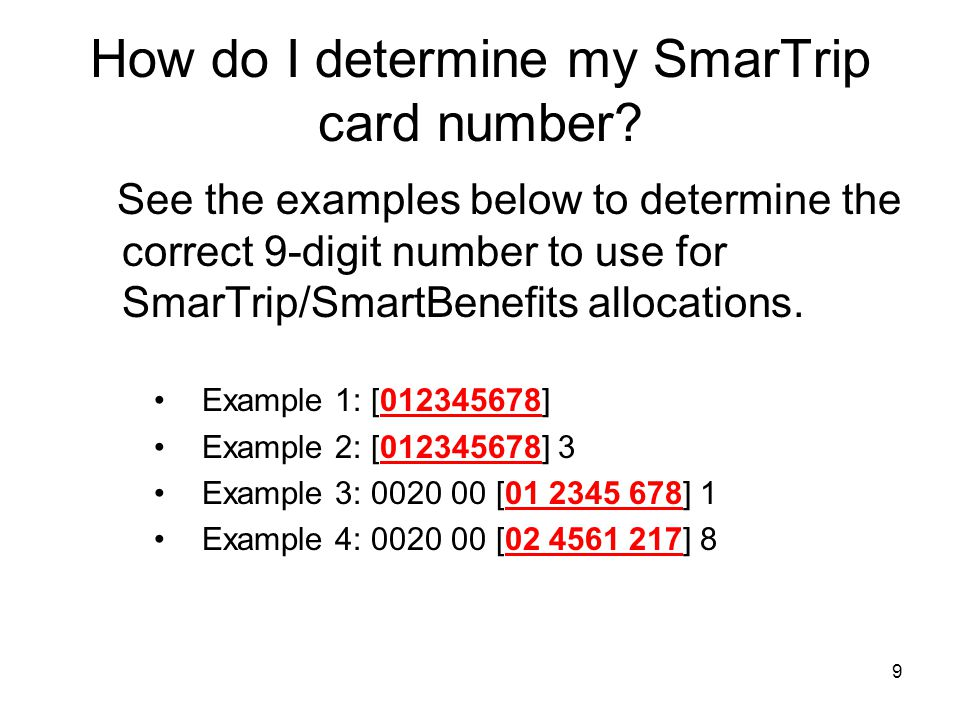 How do I determine my SmarTrip card number
