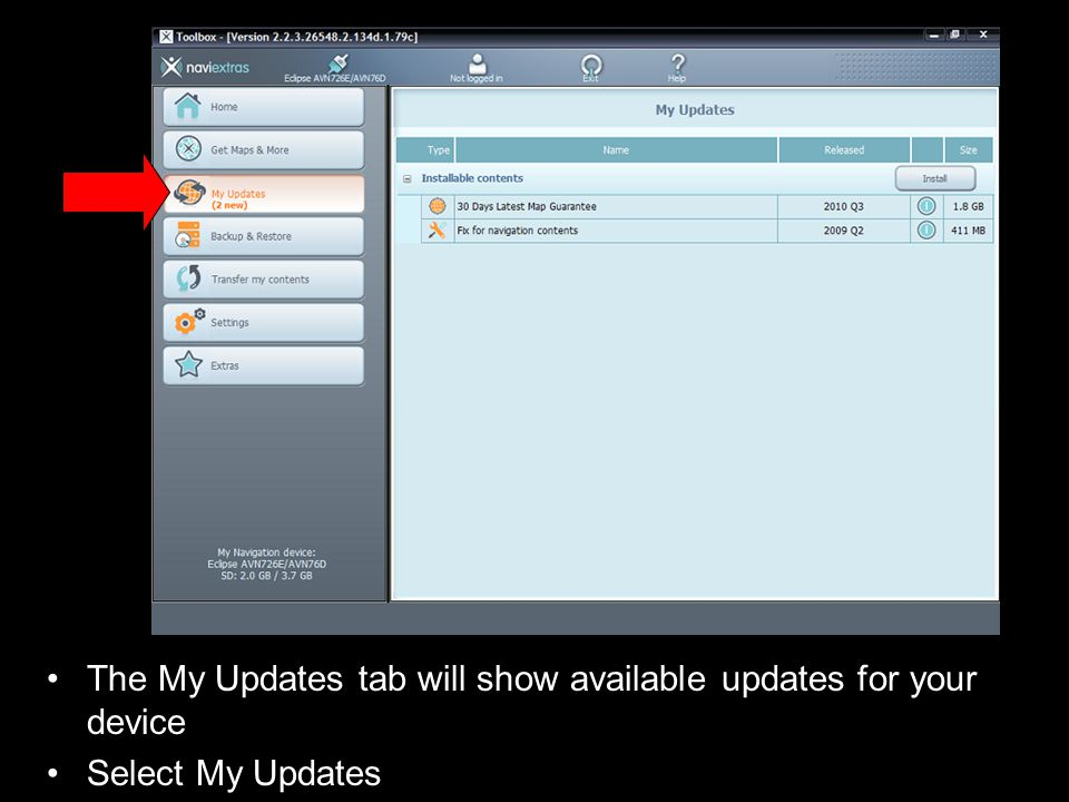 The My Updates tab will show available updates for your device