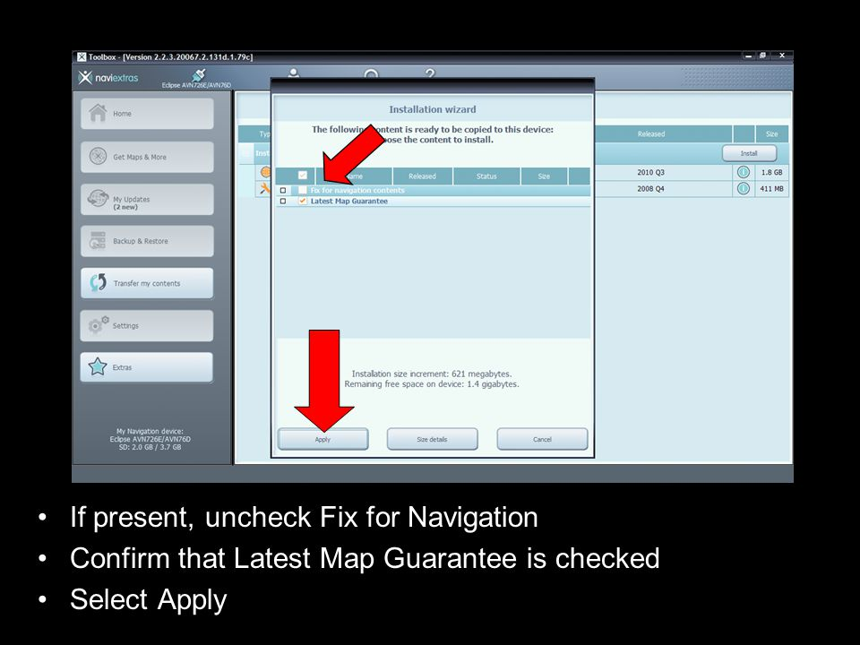 If present, uncheck Fix for Navigation