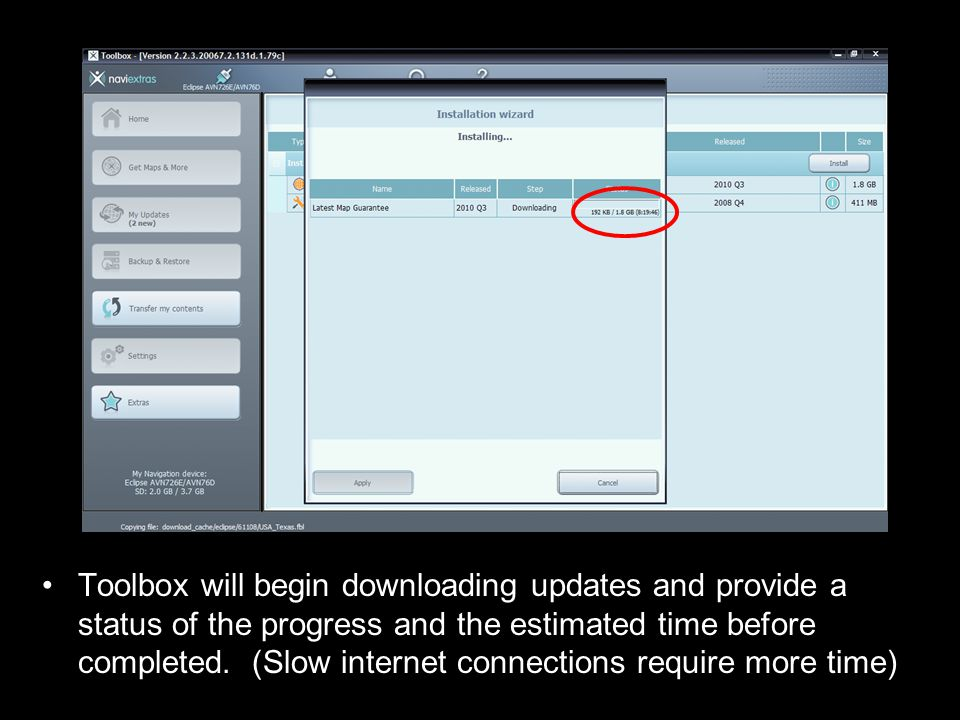 Toolbox will begin downloading updates and provide a status of the progress and the estimated time before completed.