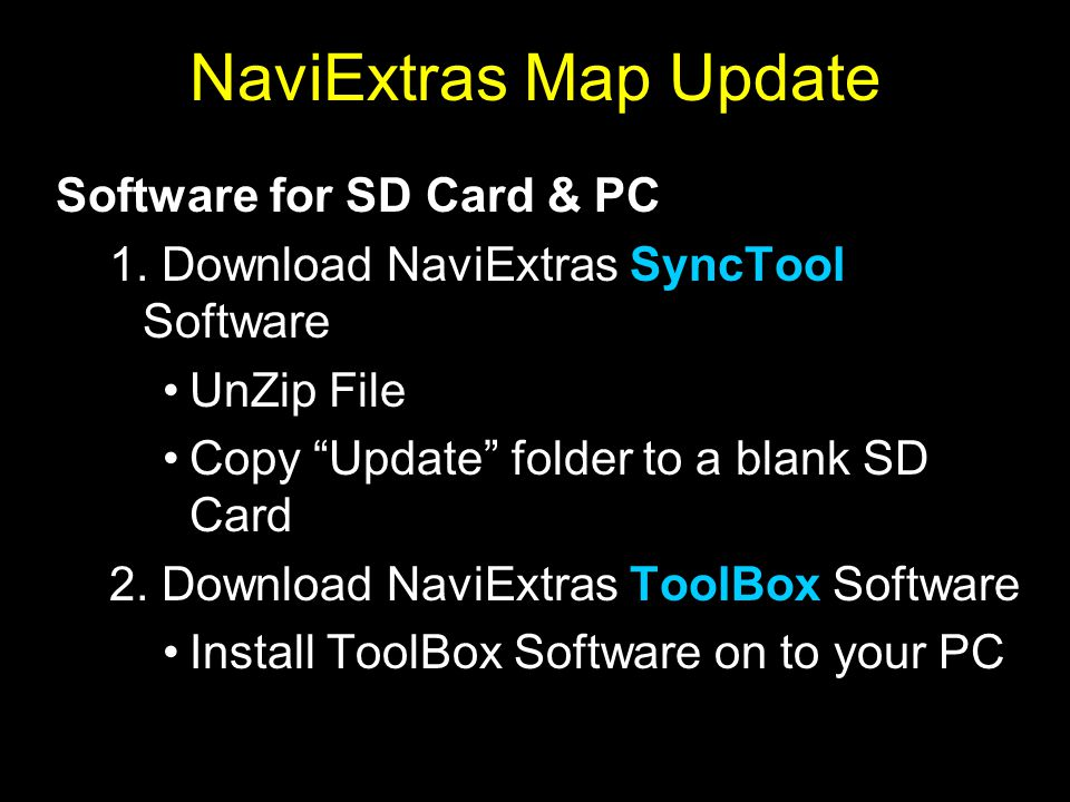 NaviExtras Map Update Software for SD Card & PC