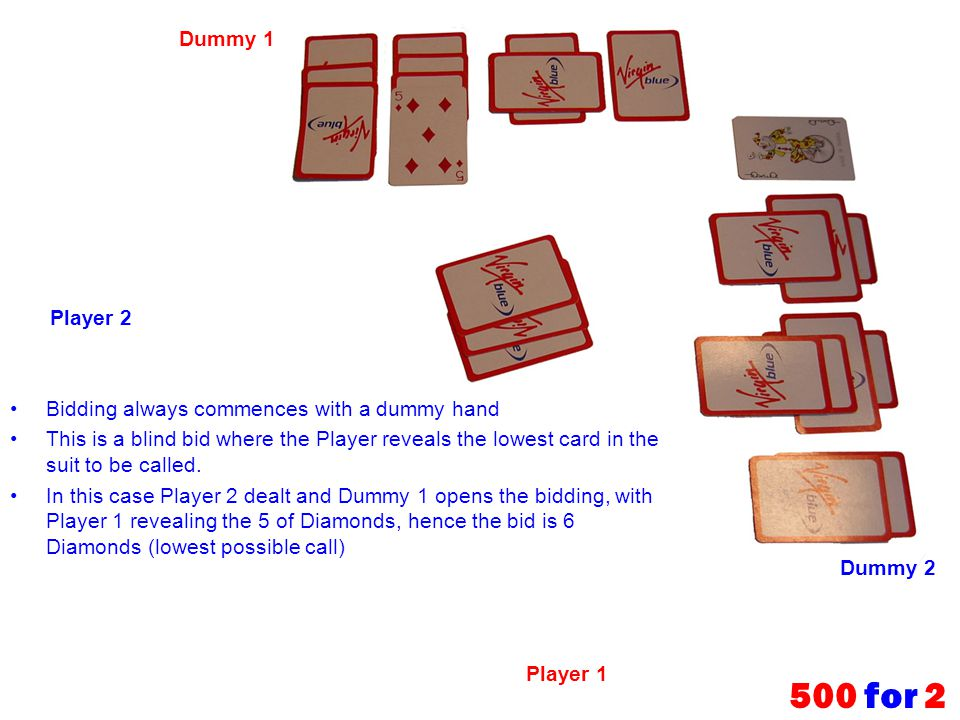 500 for 2 Dummy 1 Player 2 Bidding always commences with a dummy hand
