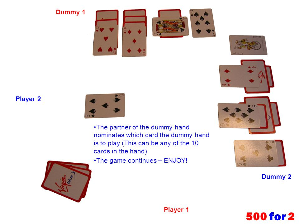 Dummy 1 Player 2. The partner of the dummy hand nominates which card the dummy hand is to play (This can be any of the 10 cards in the hand)