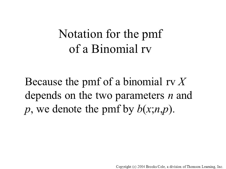 Notation for the pmf of a Binomial rv