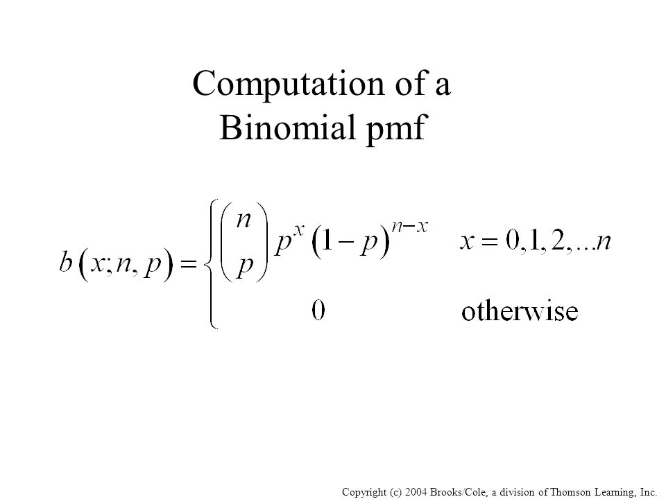 Computation of a Binomial pmf