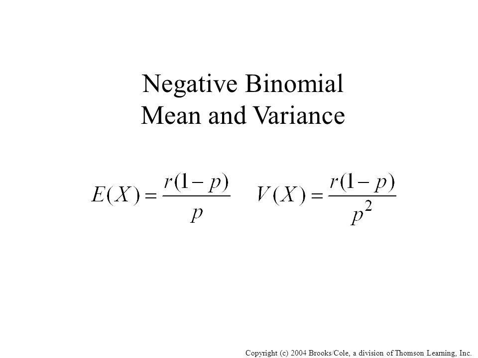 Negative Binomial Mean and Variance