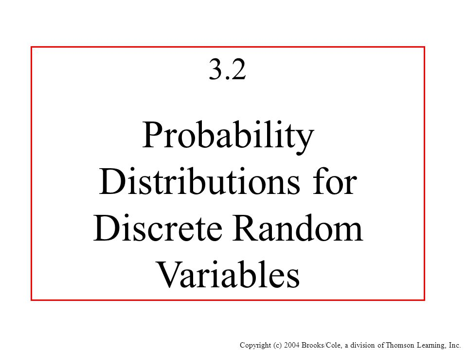 Probability Distributions for Discrete Random Variables