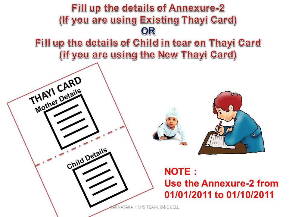   THAYI CARD Fill up the details of Annexure-2