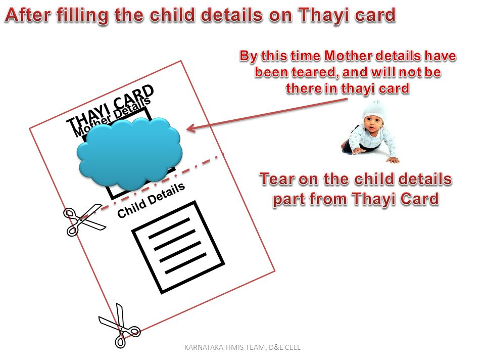 Tear on the child details part from Thayi Card