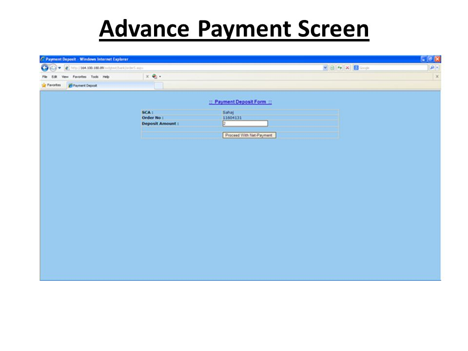 Advance Payment Screen