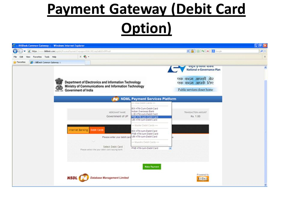 Payment Gateway (Debit Card Option)