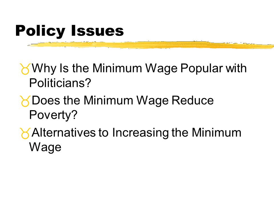 Policy Issues Why Is the Minimum Wage Popular with Politicians