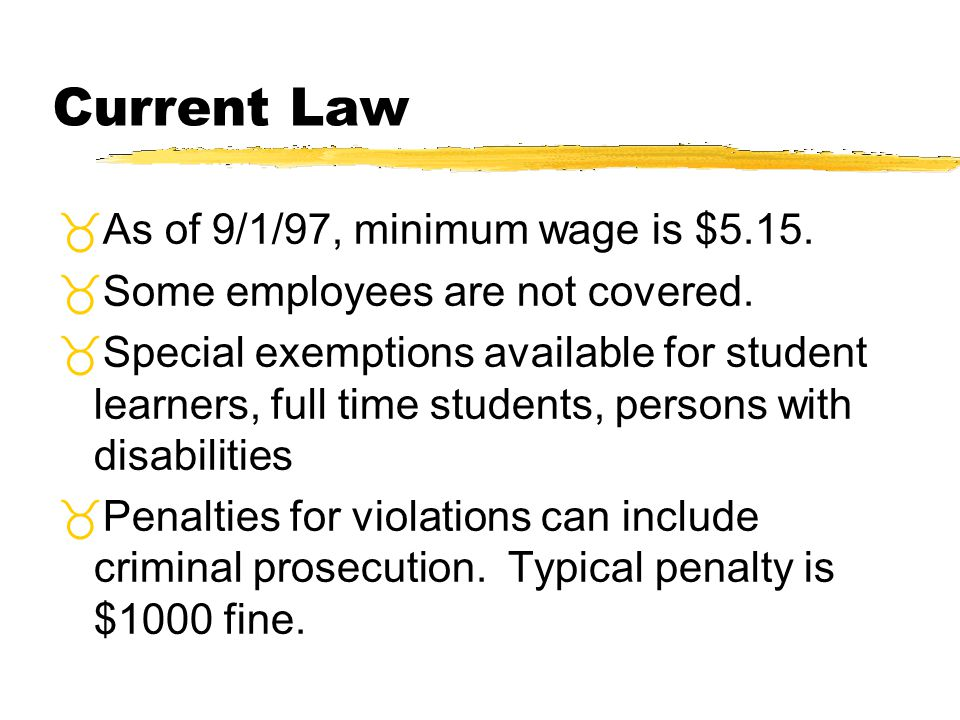 Current Law As of 9/1/97, minimum wage is $5.15.