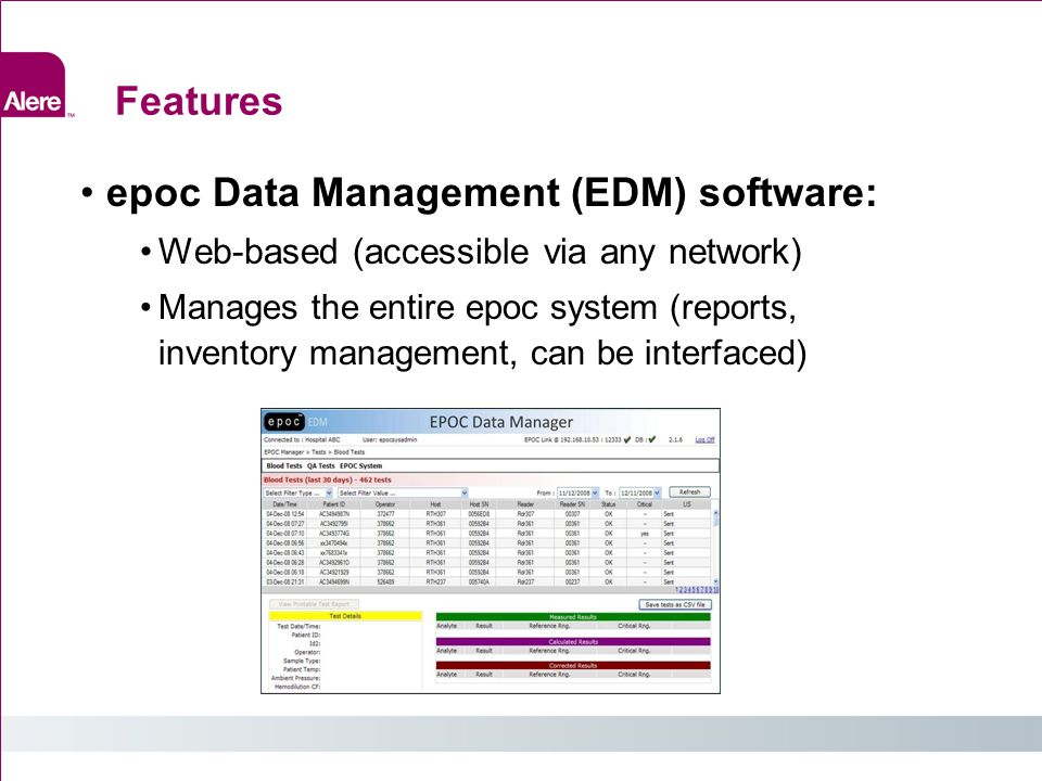 epoc Data Management (EDM) software: