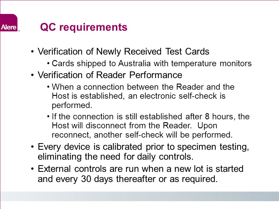 QC requirements Verification of Newly Received Test Cards
