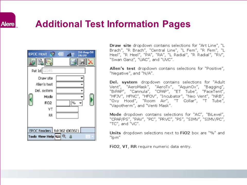 Additional Test Information Pages
