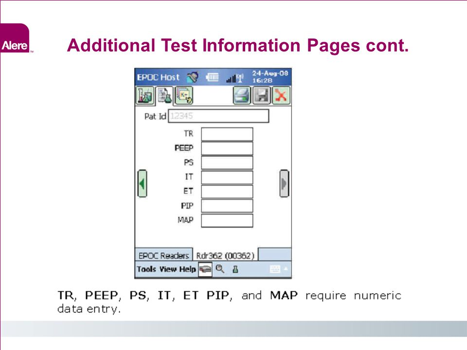 Additional Test Information Pages cont.
