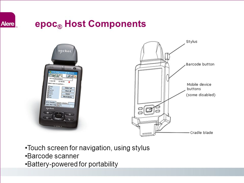 epoc® Host Components Touch screen for navigation, using stylus
