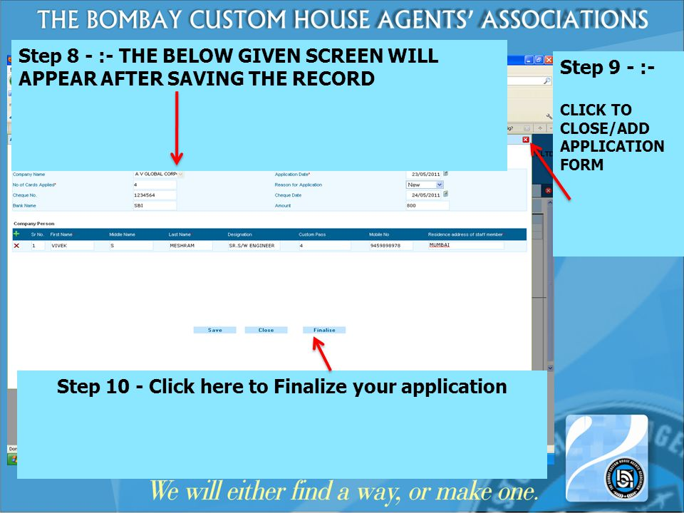 Step 10 - Click here to Finalize your application