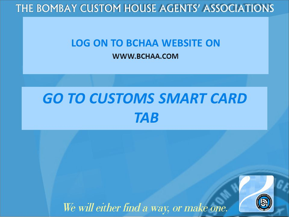 GO TO CUSTOMS SMART CARD TAB