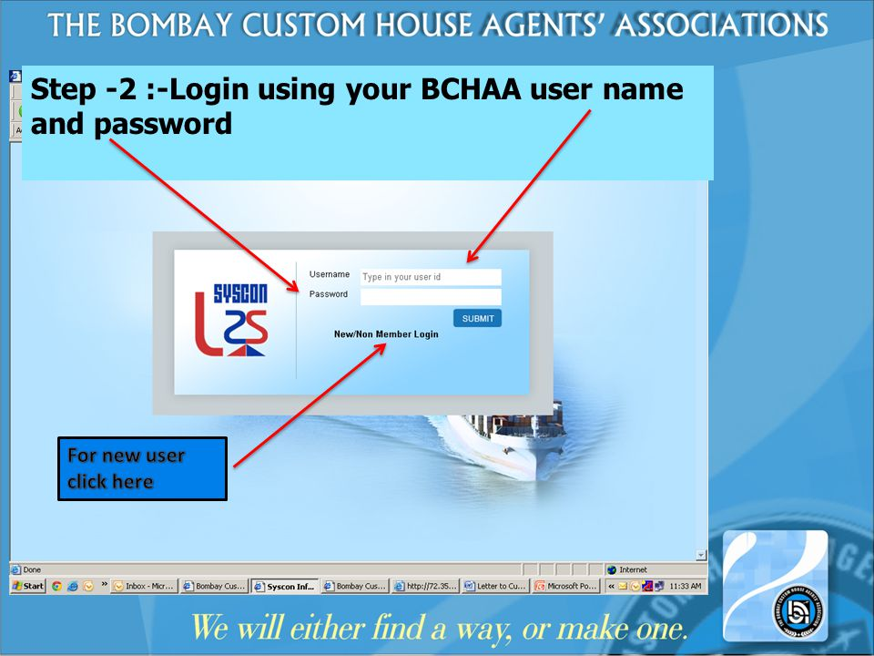 Step -2 :-Login using your BCHAA user name and password