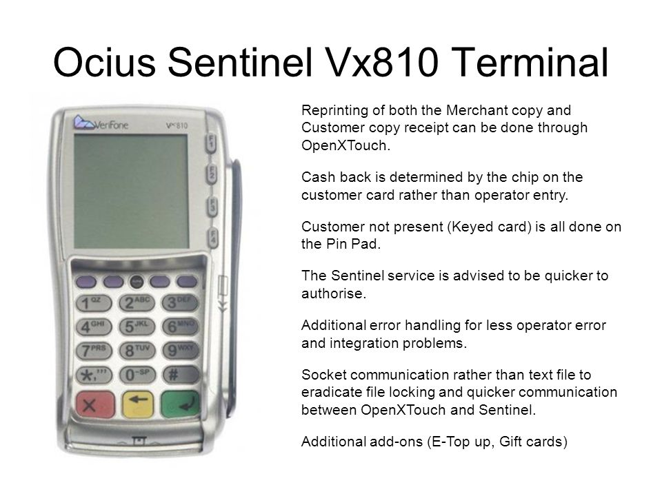 Ocius Sentinel Vx810 Terminal