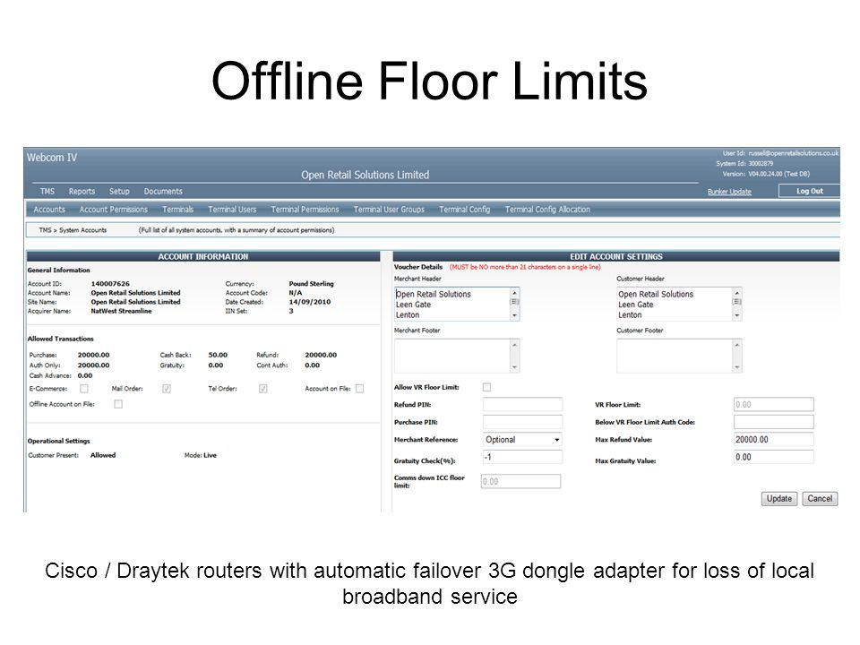 Offline Floor Limits Cisco / Draytek routers with automatic failover 3G dongle adapter for loss of local broadband service.