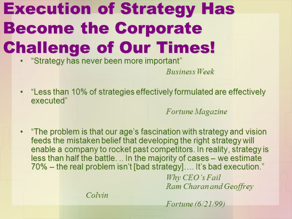 Execution of Strategy Has Become the Corporate Challenge of Our Times!