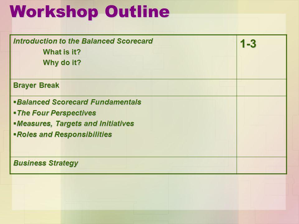 Workshop Outline 1-3 Introduction to the Balanced Scorecard