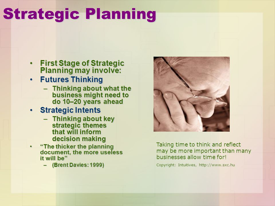 Strategic Planning First Stage of Strategic Planning may involve: