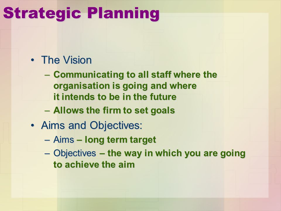 Strategic Planning The Vision Aims and Objectives: