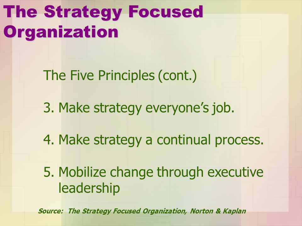 The Strategy Focused Organization The Five Principles (cont.)