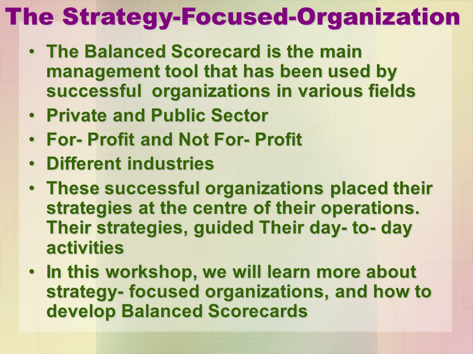 The Strategy-Focused-Organization