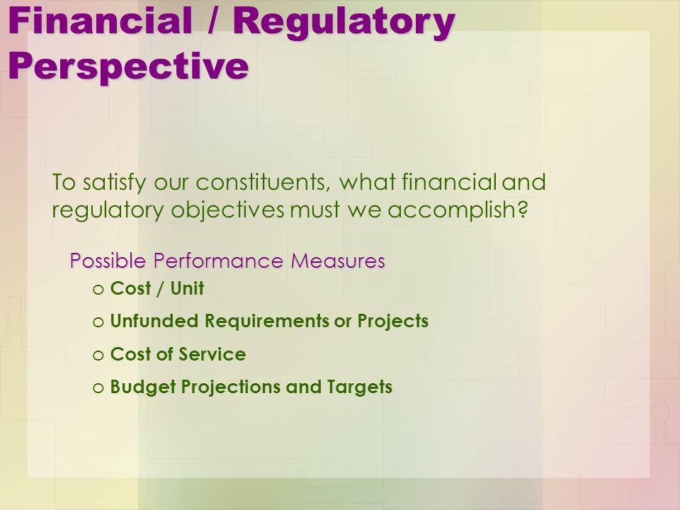 Financial / Regulatory Perspective