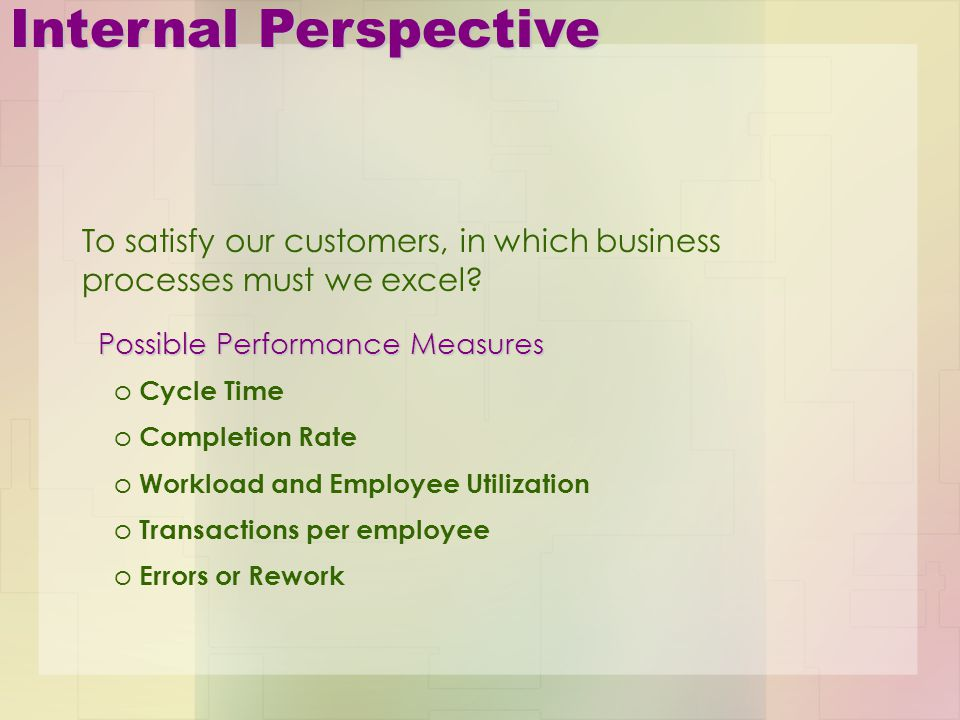 Internal Perspective To satisfy our customers, in which business