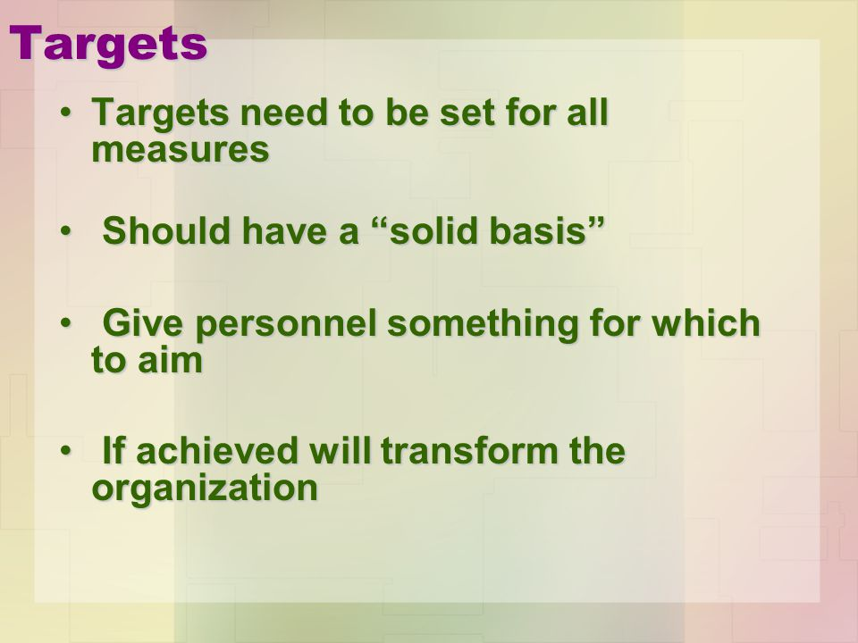 Targets Targets need to be set for all measures