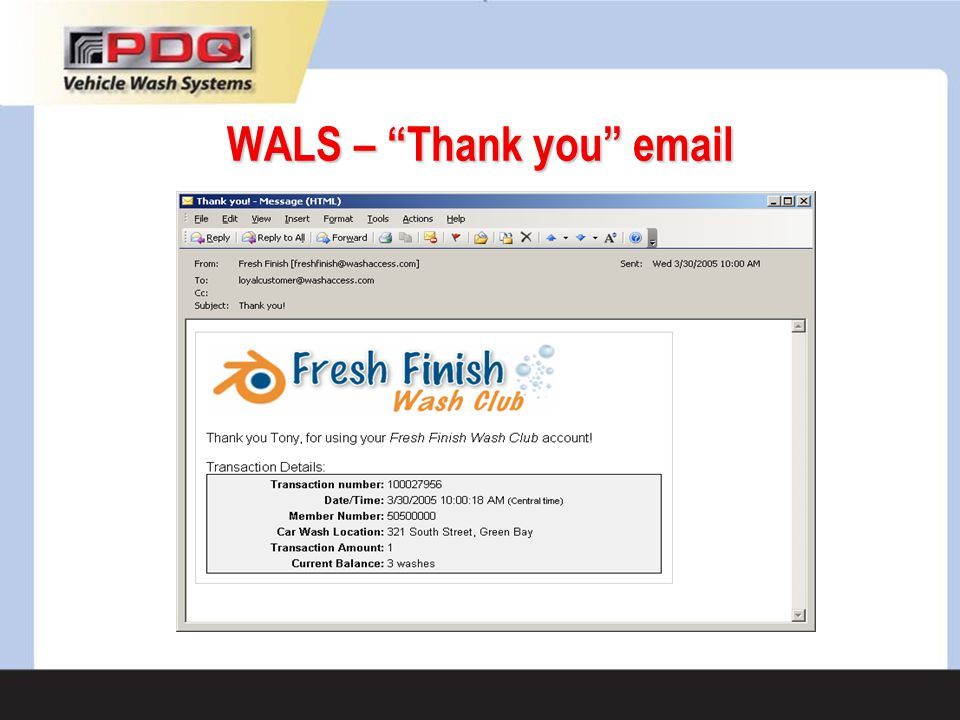 WALS – Thank you email