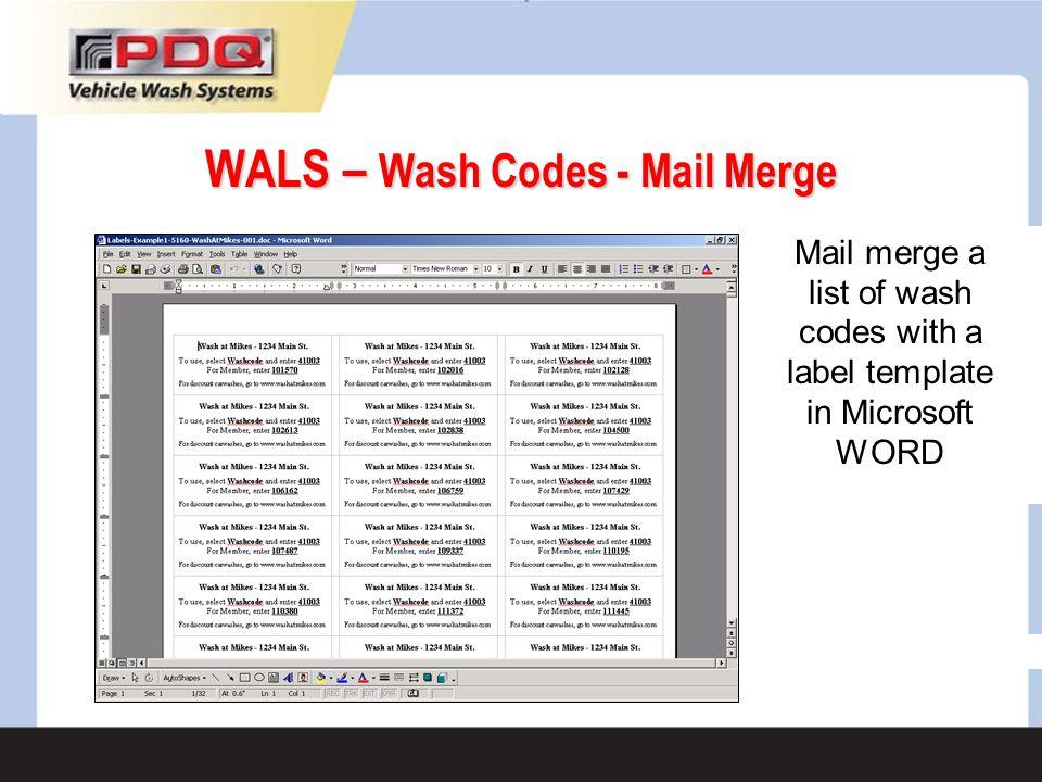 WALS – Wash Codes - Mail Merge