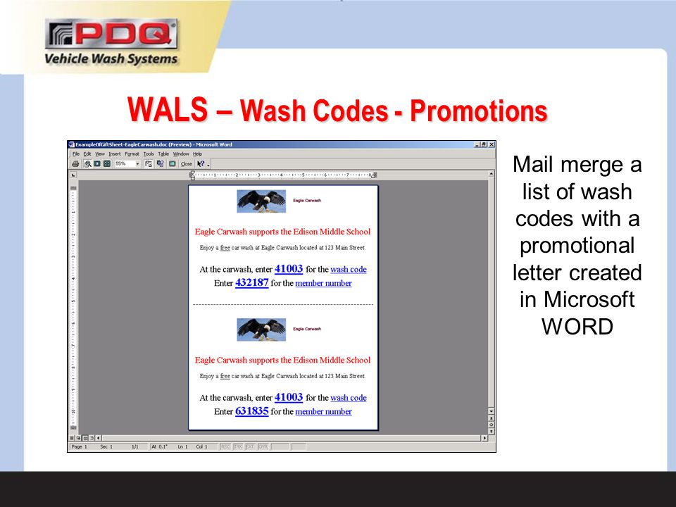 WALS – Wash Codes - Promotions