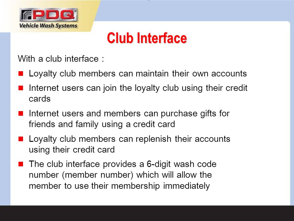 Club Interface With a club interface :