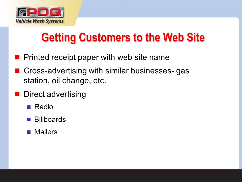 Getting Customers to the Web Site